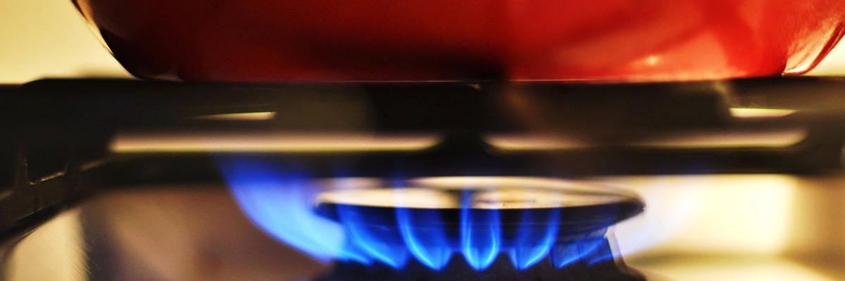 Pan on gas stovetop