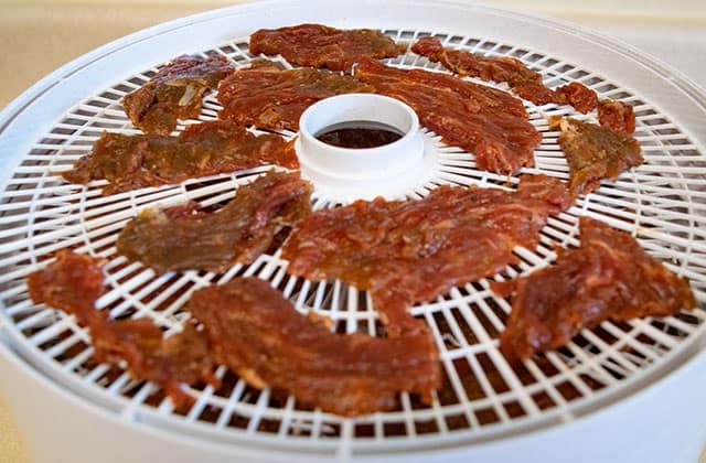 raw skirt steak on dehydrator tray