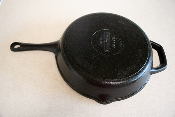 Bottom of cast iron skillet